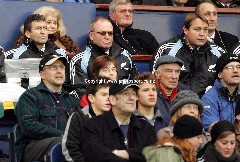 All Black coaching staff, Wayne Smith, Graham Henry and Steve Hansen during the test match vs Scotland at Murrayfield Stadium, Edinburgh, Saturday 26 November 2005. The All Blacks won the match 29 - 10.  Photo: Paul Thomas/Photosport.