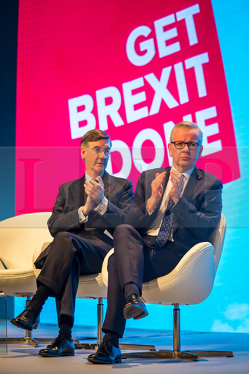 © Licensed to London News Pictures. 29/09/2019. Manchester, UK. Jacob Rees-Mogg & Michael Gove at the Conservative Party Conference at Manchester Central in Manchester. Photo credit: Andrew McCaren/LNP