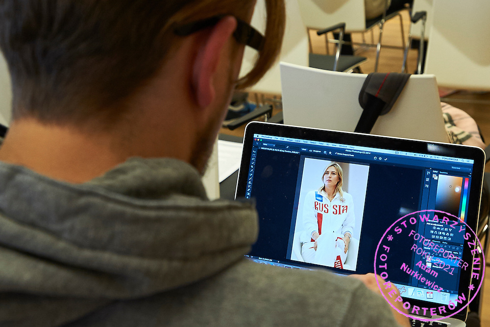Maria Sharapova's pictures at macbook of jouralist during official draw one day before the Fed Cup / World Group 1st round tennis match between Poland and Russia at Holiday Inn on February 6, 2015 in Cracow, Poland.<br /> <br /> Poland, Cracow, February 6, 2015<br /> <br /> Picture also available in RAW (NEF) or TIFF format on special request.<br /> <br /> For editorial use only. Any commercial or promotional use requires permission.<br /> <br /> Adam Nurkiewicz declares that he has no rights to the image of people at the photographs of his authorship.<br /> <br /> Mandatory credit:<br /> Photo by &copy; Adam Nurkiewicz / Mediasport