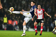 West Bromwich Albion midfielder Gareth Barry (18) clears his lines during the Premier League match between West Bromwich Albion and Southampton at The Hawthorns, West Bromwich, England on 3 February 2018. Picture by Dennis Goodwin.