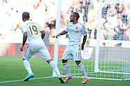 Swansea city's Wayne Routledge (15) celebrates by after he scores his sides 2nd goal. Barclays Premier league, Swansea city v Reading at the Liberty Stadium in Swansea, South Wales on Saturday 6th October 2012.   pic by  Andrew Orchard, Andrew Orchard sports photography,