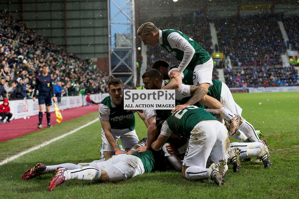 Hibernian v St Johnstone Scottish League Cup semi-final 2015-2016  <br /> <br /> Hibs team celebrate with John McGinn (Hibernian) after scoring the winning goal during the Hibernian v St Johnstone, Scottish League Cup semi-final at Tynecastle Stadium on Saturday 30 January 2016.<br /> <br /> <br /> Picture: Alan Rennie