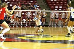 06 October 2007:  Laura Rowen goes to both knees to grab a dig. The Illinois State Redbirds pulled out a photo finish in a match that saw the 4th and 5th games extend into extra point play. Northern Iowa Panthers visited the Illinois State Redbirds at Redbird Arena on the campus of Illinois State University in Normal Illinois.