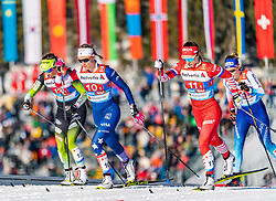 24.02.2019, Langlauf Arena, Seefeld, AUT, FIS Weltmeisterschaften Ski Nordisch, Seefeld 2019, Langlauf, Damen, Teambewerb, im Bild v.l. Katja Visnar (SLO), Sadie Bjornsen (USA), Natalia Nepryaeva (RUS) // f.l. Katja Visnar of Slovenia Sadie Bjornsen of the USA and Natalia Nepryaeva of Russian Federation during the ladie's cross country team competition of FIS Nordic Ski World Championships 2019 at the Langlauf Arena in Seefeld, Austria on 2019/02/24. EXPA Pictures © 2019, PhotoCredit: EXPA/ Stefan Adelsberger