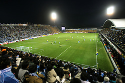 Fans of Jubilo Iwata watch the game in the Yamaha Stadium