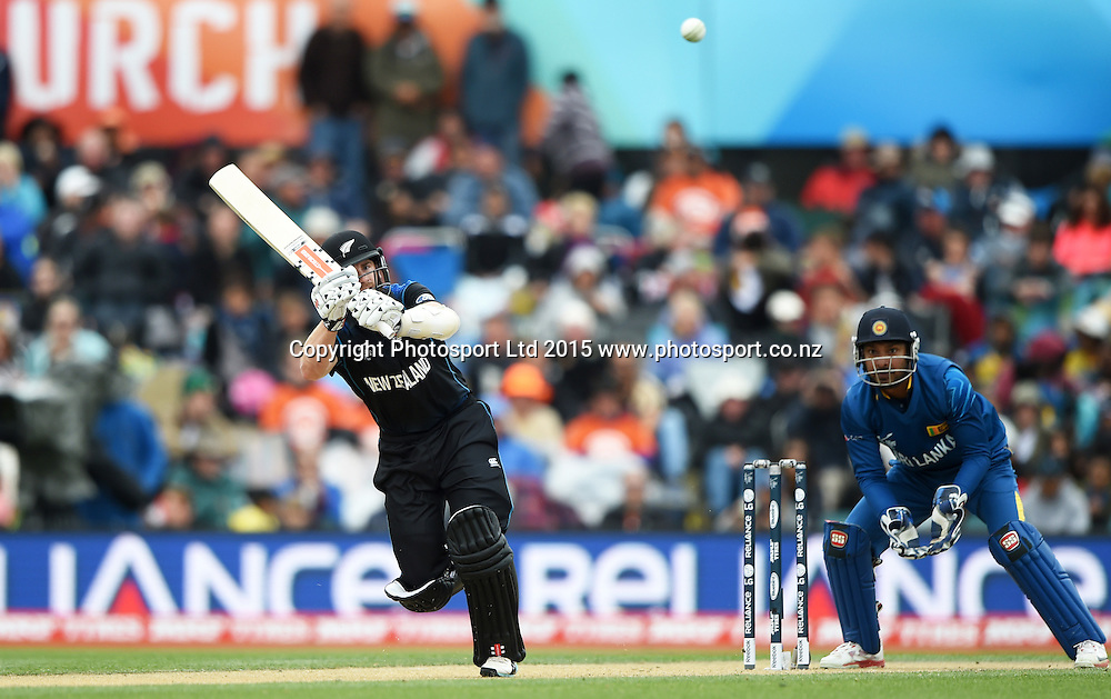 Kane Williamson batting during the ICC Cricket World Cup match between New Zealand and Sri Lanka at Hagley Oval in Christchurch, New Zealand. Saturday 14 February 2015. Copyright Photo: Andrew Cornaga / www.Photosport.co.nz