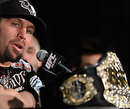 "NEWARK, NEW JERSEY, MARCH 28, 2010: UFC interim heavyweight champion Shane Carwin is pictured at the post-fight press conference for ""UFC 111: St. Pierre vs. Hardy"" in the Prudential Center, New Jersey on March 28, 2010."