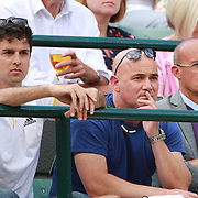 LONDON, ENGLAND - JULY 12: Coach Andre Agassi watching Novak Djokovic of Serbia in action against Tomas Berdych of the Czech Republic in the Mens' Singles Quarter Final match on Court One during the Wimbledon Lawn Tennis Championships at the All England Lawn Tennis and Croquet Club at Wimbledon on July 12, 2017 in London, England. (Photo by Tim Clayton/Corbis via Getty Images)
