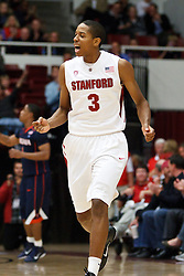 November 18, 2010; Stanford, CA, USA;  Stanford Cardinal guard/forward Anthony Brown (3) celebrates after making a three point basket against the Virginia Cavaliers during the second half at Maples Pavilion.  Stanford defeated Virginia 81-60.