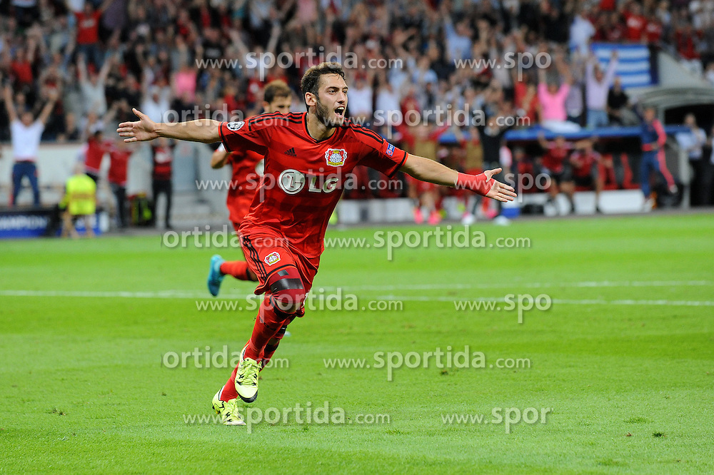 26.08.2015, BayArena, Leverkusen, GER, UEFA CL, Bayer 04 Leverkusen vs Lazio Rom, Playoff, R&uuml;ckspiel, im Bild Hakan Calhanoglu ( Bayer 04 Leverkusen ) jubelt ueber seinen Treffer zum 1 : 0 // during UEFA Champions League Playoff 2nd Leg match between Bayer 04 Leverkusen and SS Lazio at the BayArena in Leverkusen, Germany on 2015/08/26. EXPA Pictures &copy; 2015, PhotoCredit: EXPA/ Eibner-Pressefoto/ Thienel<br /> <br /> *****ATTENTION - OUT of GER*****