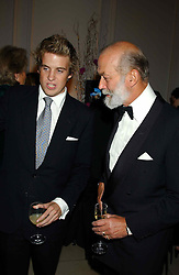 Left to right, MR HARRY LAWSON-JOHNSTON and HRH PRINCE MICHAEL OF KENT at a evening to celebrate the unveiling of the British Luxury Club at The Orangery, Kensington Palace, London W8 on 16th September 2004.<br />