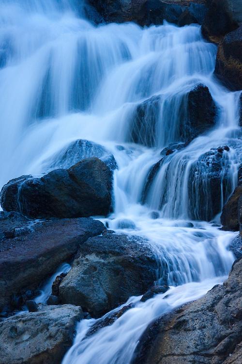 Waterfall cascades over rocks