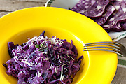 Yellow plate with purple colored risotto with red cabbage, traditional recipe of the Italian cuisine.