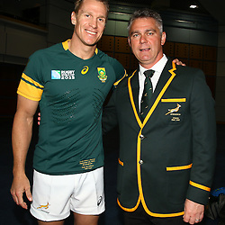 BIRMINGHAM, ENGLAND - SEPTEMBER 25: Jean de Villiers (captain) with Heyneke Meyer (Head Coach) of South Africa during the South African national rugby team official photograph at Regency Hyatt Birmingham on September 25, 2015 in Birmingham, England. (Photo by Steve Haag/Gallo Images)