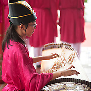 Student plays zither, Cishan Confucius Ceremony Cishan District, Kaoshiung , Taiwan
