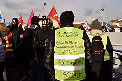 About a hundred protesters, parts of the trade unionists (CGT) and gilets jaunes protests (Yellow vests) in Creteil, near Paris, France, as French president Emmanuel Macron opens the new handball house on January 9, 2019. Photo by Patrice Pierrot/Avenir Pictures/ABACAPRESS.COM