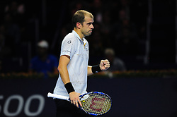 October 29, 2016 - Basel, Basel, Switzerland - Gilles Muller (LUX) during a match against Kei Nishikori (JPN) in the semi-finals of the Swiss Indoors at St. Jakobshalle in Basel, Switzerland on October 29, 2016. (Credit Image: © Miroslav Dakov/NurPhoto via ZUMA Press)