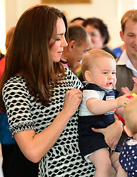 WELLINGTON- NZ- 9-APR-2014: POOL- Prince George is take by his parents, The Duke and Duchess of Cambridge to join the Plunket Play Group at Government House on the first full day of their Official Visit to New Zealand. Prince George joined other local children playing with toys watched by his mother Kate.<br /> Pool photograph by James Whatling / supplied by Ian Jones Photography.