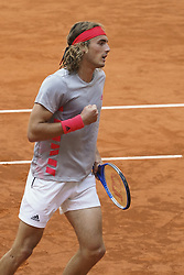 May 9, 2019 - Madrid, Spain - Stefanos Tsitsipas of Grece in action against ..Fernando Verdasco of Sapind during day six of the Mutua Madrid Open at La Caja Magica on May 09, 2019 in Madrid, Spain. (Credit Image: © Oscar Gonzalez/NurPhoto via ZUMA Press)