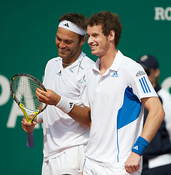 MONTE-CARLO, MONACO - Monday, April 12, 2010: Andy Murray (GBR) and Ross Hutchins (GBR) during the Men's Doubles 1st Round match at the ATP Masters Series Monte-Carlo at the Monte-Carlo Country Club. (Photo by David Rawcliffe/Propaganda)