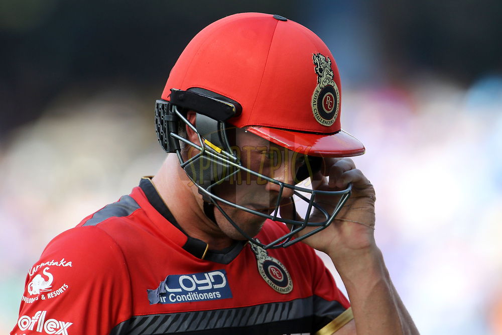 AB de Villiers of the Royal Challengers Bangalore walks back to the pavilion after getting out during match 38 of the Vivo 2017 Indian Premier League between the Mumbai Indians and the Royal Challengers Bangalore held at the Wankhede Stadium in Mumbai, India on the 1st May 2017<br /> <br /> Photo by Vipin Pawar - Sportzpics - IPL