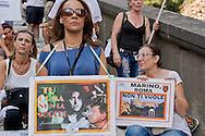 Roma 2 Luglio 2015<br /> Manifestazione della Lista Marchini davanti Palazzo Senatorio in Campidoglio, per chiedere le  dimissioni del Sindaco di Roma Ignazio Marino e le elezioni per un nuovo sindaco. <br /> Rome, July 2, 2015<br /> Demostration of the  List Marchini in front the Senate Building on Capitol Hill, to demand the resignation of the Mayor of Rome Ignazio Marino and elections for a new mayor.
