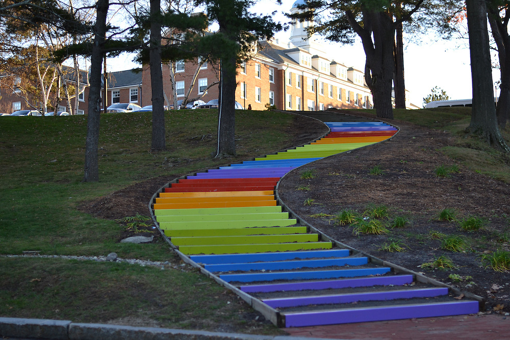 11/20/15 – Medford/Somerville, MA – The newly renovated Rainbow Stairs on Nov. 20, 2015. (Sofie Hecht / The Tufts Daily)