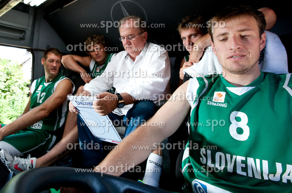 Goran Jagodnik, Miha Zupan, Bozidar Maljkovic, Zoran Dragic and Matjaz Smodis during filming of video for Eurobasket Lithuania 2011 of Slovenian National Basketball team during training camp in Kranjska Gora, on July 12, 2011, in Kranjska Gora, Slovenia. (Photo by Vid Ponikvar / Sportida)
