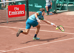 April 13, 2018 - Houston, TX, U.S. - HOUSTON, TX - APRIL 13:  Guido Pella of Argentina hits the return in the match against Tennys Sandgren of the United States during the Quarterfinal round of the Men's Clay Court Championship on April 13, 2018 at River Oaks Country Club in Houston, Texas.  (Photo by Leslie Plaza Johnson/Icon Sportswire) (Credit Image: © Leslie Plaza Johnson/Icon SMI via ZUMA Press)