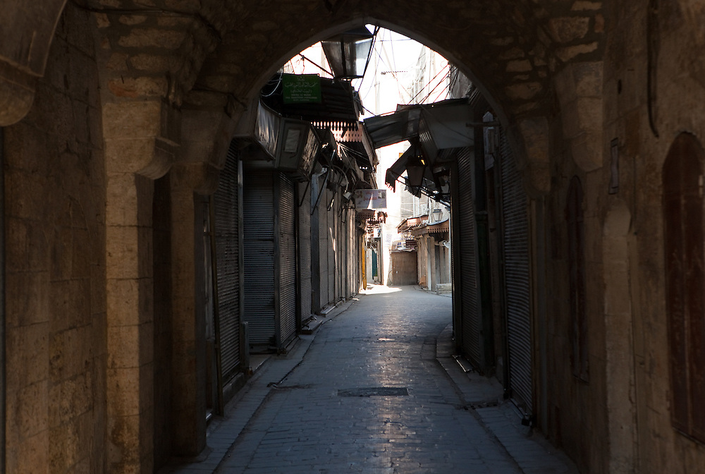 Archways and alleyways of Aleppo, Syria in the early morning