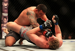Fabricio Werdum (left) and Alexander Volkov in action during their Heavyweight fight at The O2 Arena, London.