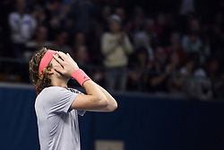 October 21, 2018 - Stockholm, Sweden - 181021 Stefanos Tsitsipas, Grekland jublar efter finalen av tennisturneringen Stockholm Open den 21 oktober 2018 i Stockholm  (Credit Image: © Erik Simander/Bildbyran via ZUMA Press)