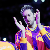 28 February 2014: Los Angeles Lakers center Pau Gasol (16) is seen during the players introduction prior to the Los Angeles Lakers 126-122 victory over the Sacramento Kings at the Staples Center, Los Angeles, California, USA.