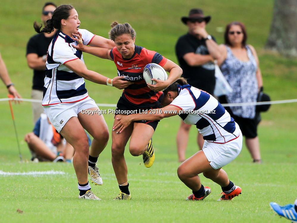 Canterbury womens Ruby Tui crashes into the Auckland defence, day 1, Baileys National Sevens, International stadium, Rotorua, New Zealand, 16 January 2016. Copyright photo: John Cowpland / www.photosport.nz