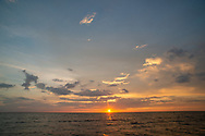 The bay is calm as the sun sets Thursday, July 18, 2019 on the Delaware Bay in Villas, New Jersey. (Photo by William Thomas Cain/CAIN IMAGES)
