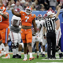 Jan 1, 2018; New Orleans, LA, USA; Clemson Tigers defensive end Austin Bryant (7) reacts after a play during the second quarter against the Clemson Tigers in the 2018 Sugar Bowl college football playoff semifinal game at Mercedes-Benz Superdome. Mandatory Credit: Derick E. Hingle-USA TODAY Sports