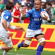 Faalemiga Selesele scores a try in the 2nd half vs France in Manu Samoa's 24-12 victory, Hong Kong 7's day two, Hong Kong Stadium, Happy Valley, Hong Kong Island, China.   Photo by Barry Markowitz, 4/9/16