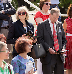 Image ©Licensed to i-Images Picture Agency. 19/07/2014. , United Kingdom. Home Secretary Theresa May  and her husband Phillip attend Newbury races. Newbury ,Berkshire Picture by i-Images