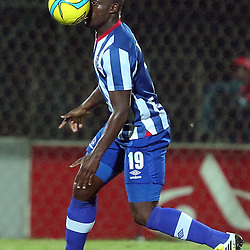 PIETERMARITZBURG, SOUTH AFRICA - MARCH 19: Terrance Mandaza of Maritzburg Utd is hit in the face with the ball during the Absa Premiership match between Maritzburg United and Bloemfontein Celtic at Harry Gwala Stadium on March 19, 2014 in Pietermaritzburg, South Africa. (Photo by Steve Haag/Gallo Images)