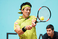 Kei Nishikori during the Madrid Open at Manzanares Park Tennis Centre, Madrid<br /> Picture by EXPA Pictures/Focus Images Ltd 07814482222<br /> 05/05/2016<br /> ***UK & IRELAND ONLY***<br /> EXPA-ESP-160505-0095.jpg