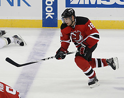 Dec 30, 2009; Newark, NJ, USA; New Jersey Devils right wing Niclas Bergfors (18) skates during the third period at the Prudential Center. The Devils defeated the Penguins 2-0.