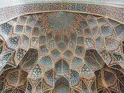 Detail view of khanqah portal; muqarnas semi-dome, Shaykh 'Abd al-Samad Mosque, Natanz, Iran.