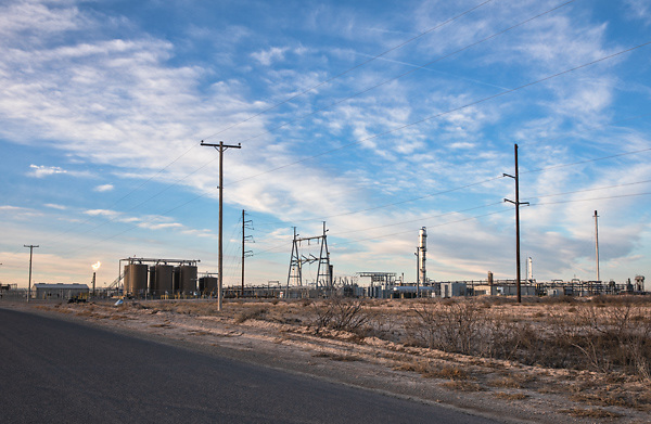Flares at Eagle Claw Midstream Pecos Bend Gas Plant  in the Permain Basin.