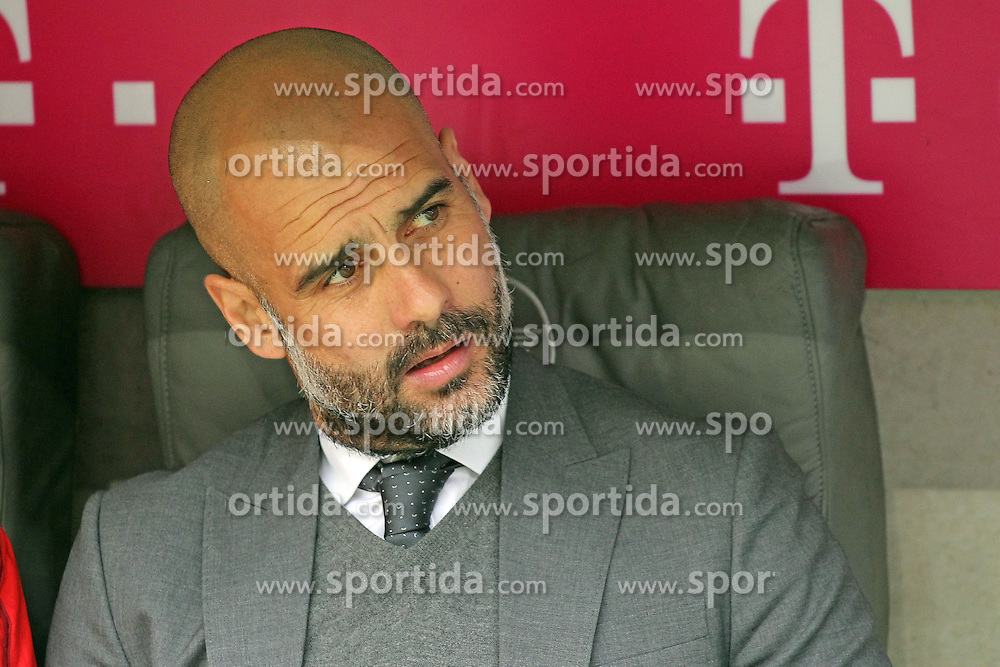 02.04.2016, Allianz Arena, Muenchen, GER, 1. FBL, FC Bayern Muenchen vs Eintracht Frankfurt, 28. Runde, im Bild Trainer Pep Guardiola (FC Bayern Muenchen) // during the German Bundesliga 28th round match between FC Bayern Munich and Eintracht Frankfurt at the Allianz Arena in Muenchen, Germany on 2016/04/02. EXPA Pictures &copy; 2016, PhotoCredit: EXPA/ Eibner-Pressefoto/ Langer<br /> <br /> *****ATTENTION - OUT of GER*****