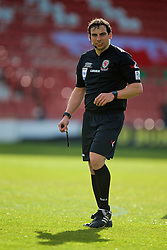WREXHAM, WALES - Monday, May 2, 2016: Referee Bryn Markham Jones during the 129th Welsh Cup Final at the Racecourse Ground. (Pic by David Rawcliffe/Propaganda)