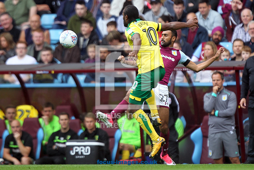 Cameron Jerome of Norwich and Ahmed Elmohamady of Aston Villa in action during the Sky Bet Championship match at Villa Park, Birmingham<br /> Picture by Paul Chesterton/Focus Images Ltd +44 7904 640267<br /> 19/08/2017