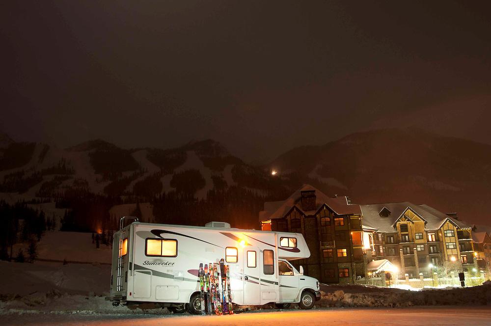 Slopeside accommodations in the skiRV at Kicking Horse Mountain Resort.