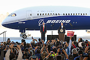 Boeing CEO Dennis Muilenburg introduces U.S. President Donald Trump for the debut of the new Boeing 787-10 Dreamliner aircraft at the Boeing factory February 17, 2016 in North Charleston, SC. The visit comes two days after workers at the South Carolina plant voted to reject union representation in a state where Trump won handily.