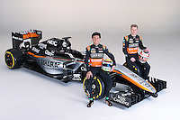 (L to R): Sergio Perez (MEX) Sahara Force India F1 with team mate Nico Hulkenberg (GER) Sahara Force India F1.<br /> Sahara Force India F1 Team Livery Reveal, Soumaya Museum, Mexico City, Mexico. Wednesday 21st January 2015.