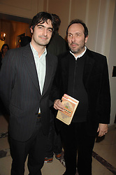 Left to right, VISCOUNT CASTLEREAGH and the HON.DAVID MACMILLAN at a party to celebrate the publication of The End of Sleep by Rowan Somerville held at the Egyptian Embassy, London on 27th March 2008.<br />